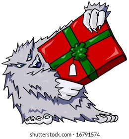 Vector cartoon of abominable snowman holding a present