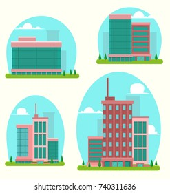 vector cartoon abstract flat city skyscraper building template collection set with silhouette sky cloud background and green park tree
