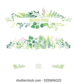 Vector cartoon abstract green plants flower herbs frame and pattern set. Meadow garden spring easter, women day romantic holiday, wedding invitation card summer floral Illustration white background