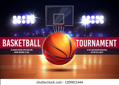 Vector cartoon ad poster, banner with basketball tournament - shining ball on a court. Sports arena with spotlights, fan sector. Playground for competition, championship. Space for viewers, fan sector