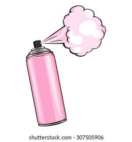 Vector Cartoon Aerosol Spray with Pink Paint