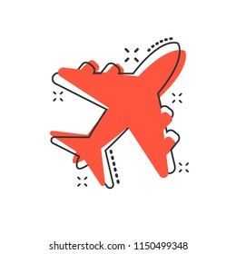 Vector cartoon airplane icon in comic style. Airport plane sign illustration pictogram. Airplane business splash effect concept.
