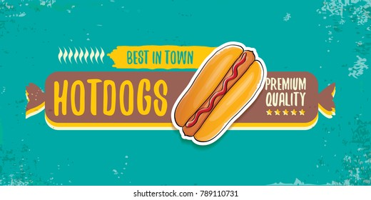 vector cartoon american hotdog restaurant horizontal banner. Vintage hot dog poster or icon design element collection. Fast food, cafe or hotdog carts logo design concept