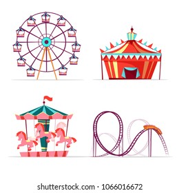 Vector cartoon amusement park attractions set. Ferris wheel, merry go round horse carousel, roller coaster and tent. Circus funfair festival kids entertainment design elements. Isolated illustration
