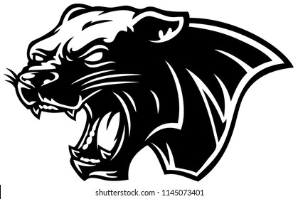 Vector Cartoon Angry Black Panther Head Line Art