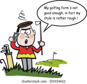 Vector cartoon of angry golfer with club