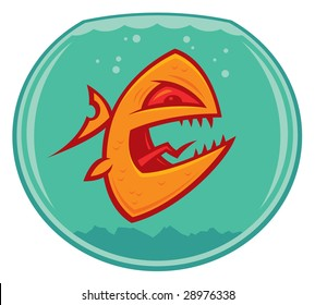 Vector cartoon of an angry and vicious goldfish in a small fishbowl. He could also be a piranha.