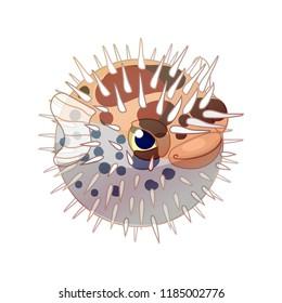 vector cartoon animal clipart: blowfish diodon