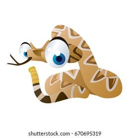 vector cartoon animal illustration. Cute funny colorful Rattler Snake