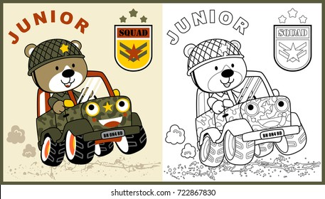 vector cartoon of animal soldier driving military vehicle, coloring page or book