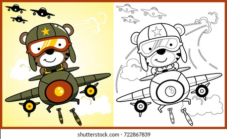 vector cartoon of animal soldier on military aircraft, coloring page or book