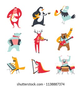 Vector cartoon animals and birds playing music