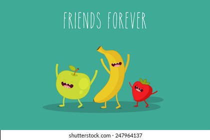 Vector cartoon. Apple, banana, strawberry fruit. Use for card, poster, banner, web design and print on t-shirt. Easy to edit. Vector illustration. Vegan food.