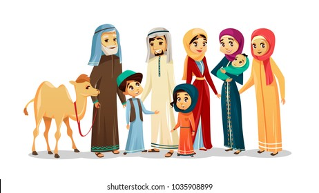 Vector cartoon arab family characters set. Happy saudi, emirates muslim senior man holding camel woman parent father sister mother holding infant baby, teen boy girl kid national clothing hijab People