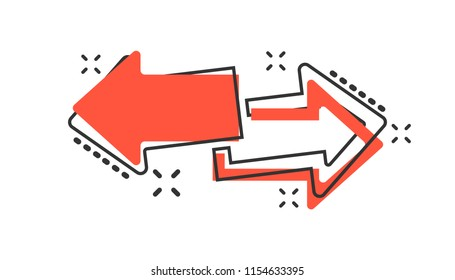 Vector cartoon arrow left and right icon in comic style. Forward arrow sign illustration pictogram. Cursor business splash effect concept.