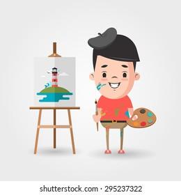 Vector Cartoon Artist and the Easel
