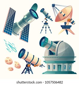 Vector cartoon astronomy set. Astronomical telescopes - radio, orbital. Planetarium, observatory, satellite dish, antenna. Scientific equipment for observation meteors, comets sky stars