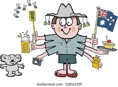 Vector cartoon of Australian man with flag and koala bear