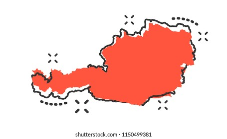 Vector cartoon Austria map icon in comic style. Austria sign illustration pictogram. Cartography map business splash effect concept.