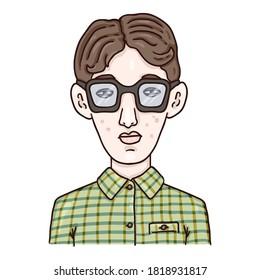 Vector Cartoon Avatar - Nerd Boy in Eyeglasses . Schoolboy Character Portrait
