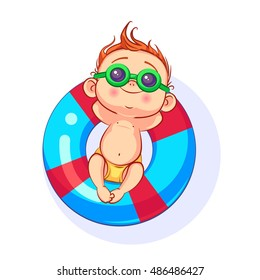 Vector cartoon baby in sunglasses lying on an inflatable circle, hands clasped behind his head.