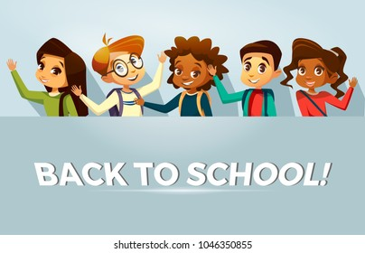 Vector cartoon back to school education poster, banner background template with multinational kids, pupils waving hands. Illustration with happy african black, caucasian girls, boys student smiling.