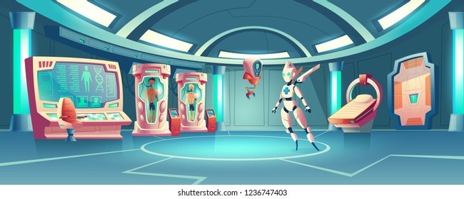 Vector cartoon background anabiosis room with hibernation cameras, medic robot to control sleep of astronauts. Spaceship orlop with cryogenic freezing capsules. Control panel with screens