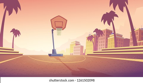 Vector cartoon background with basketball court in city, athletic field with backboard, basket and ring. Outdoor sports ground for play streetball. Urban concept landscape with playground in sunset