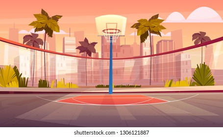 Vector cartoon background of basketball court in tropic city. Outdoor sports arena with basket for game. Street playground in town. Backdrop with green trees, palms and skyscrapers.