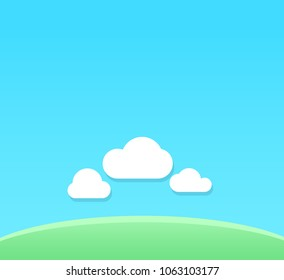Vector Cartoon Background of clear day with copy space. Backdrop with blue sky under green field.