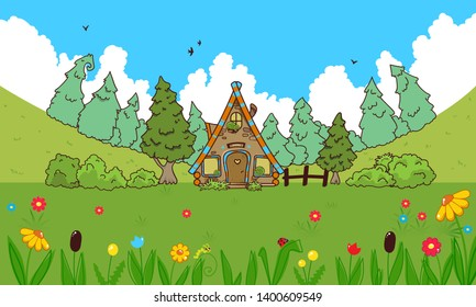 Vector cartoon background. Cute fairytale illustration of house in the wood, day time. Pine trees, flowers, grass. Perfect for kids games, apps, channels, books, walls in room. Children's book style