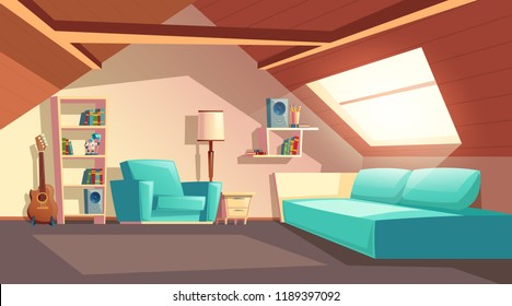 Vector cartoon background with empty garret room, modern loft apartment under wooden roof, attic interior. Cozy cockloft with furniture, big sofa, shelves with books, loudspeakers, floor lamp, guitar