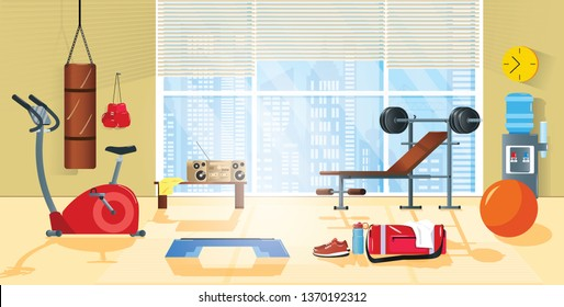 Vector cartoon background of home gym with window. Morning exercises with barbell, climbing frame and metal dumbbell. Sport interior with record player, bottle and towel. Athletic, healthy concept.