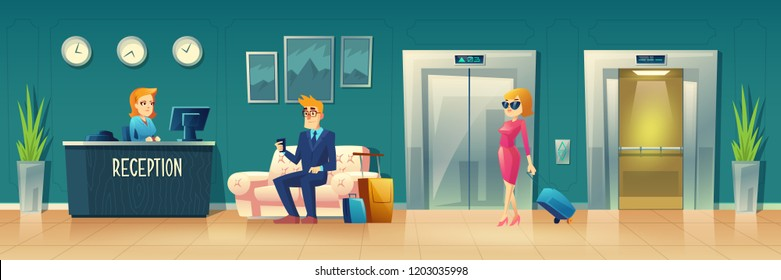 Vector cartoon background of hotel reception. Manager, receptionist behind the desk, guest with baggage at hall. Lobby with sofa, elevator and clocks. Tourism, business trip concept. Interior of inn.