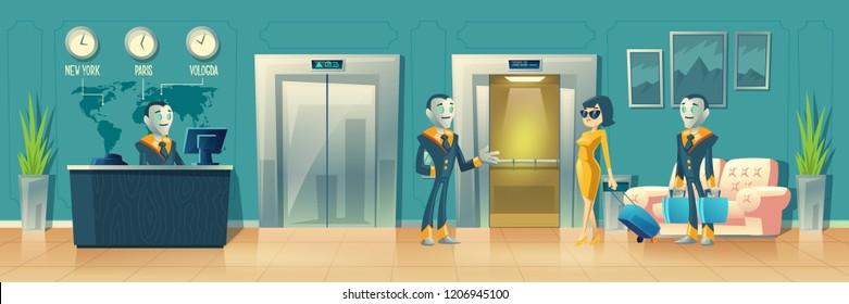 Vector Cartoon Background Hotel Reception Robot Stock Vector Royalty Free 1206945100