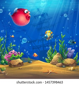Vector cartoon background image of the underwater world. Bright image to create original video or web games, graphic design, screen savers.