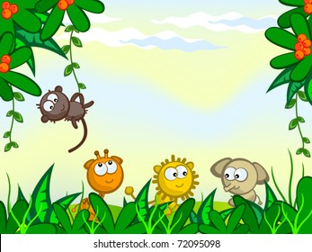 Vector cartoon background. Jungle. The frame of the plant. They protrude from African animals. Monkey, giraffe, lion, elephant.