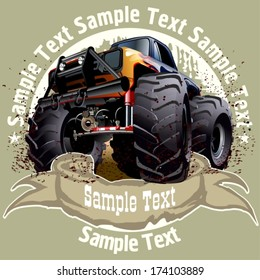 Vector Cartoon background with monstertruck. EPS-10 with transparency effects for one-click repaint