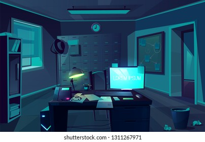 Vector cartoon background of overtime in police department or private detective. Night, dark room with desk, computer and chair for client. Interior of cabinet for investigation. Moonlight from window