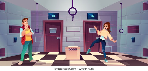Vector cartoon background of quest room with people - guy and girl decide riddles and puzzles. Stand with conundrum, keys and elements for modern game, escape concept. Lasers from walls, tile floor.