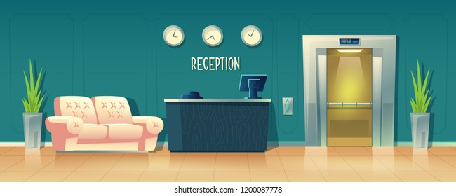 Vector cartoon background with reception desk in hotel, receptionist workplace. Empty waiting room, hall in business office, modern interior with furniture, sofa for customers, open elevator