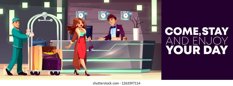 Vector cartoon background of reception with rich lady and bellboy. Service of hotel, banner with people at hall. Manager, receptionist behind the desk and tourist at lobby, foyer. Interior of inn.