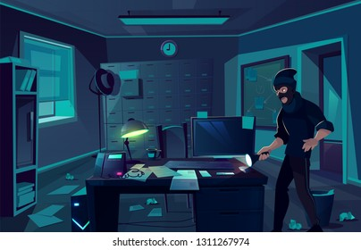 Vector cartoon background of robbery in police department or cabinet of private detective. Criminal man, thief with flashlight in dark room. Bandit at night, interior of cabinet for investigation.