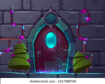 Vector cartoon background with wooden magic door with window. Brick wall with locked fantasy gates and green trees nearby. Video game backdrop, gui concept.Entrance with pink gem roses, mystery portal
