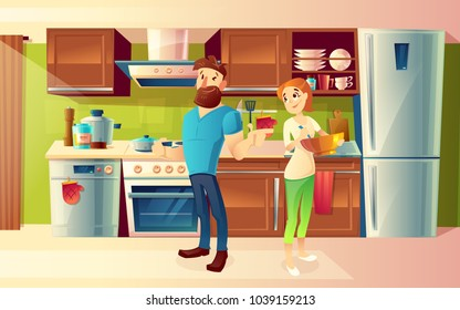 Vector cartoon background with young happy married couple, smiling man and woman cooking food together in cozy kitchen. Modern interior with kitchenware. Household and family life concept illustration