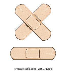 Vector Cartoon Bactericidal Plaster. Single and Cross.