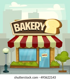 vector cartoon bakery store building illustration in fun city