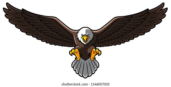 Vector Cartoon Bald Eagle With Spreaded Wings