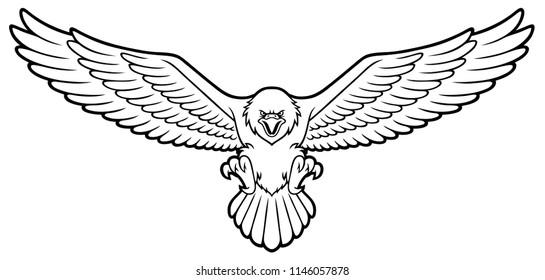 Vector Cartoon Bald Eagle With Spreaded Wings Line Art