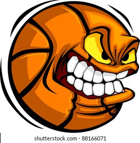Vector Cartoon Basketball with Mean Face